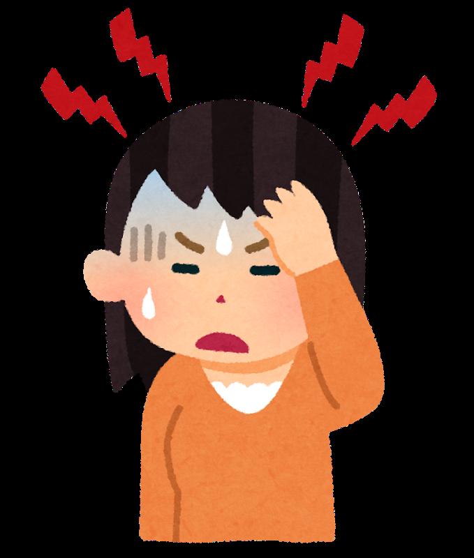片頭痛で苦しむ女性
